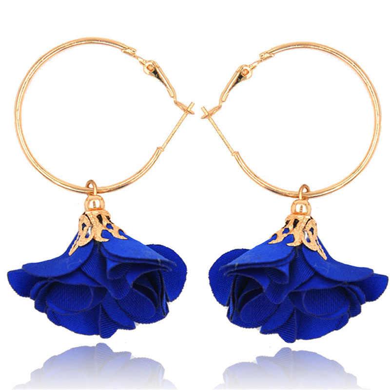 Nouveau luxe Faker fleur breloque cerceau boucles d'oreilles pour femmes couleur or tissu fleur boucle boucles d'oreilles Brincos accessoires de fête