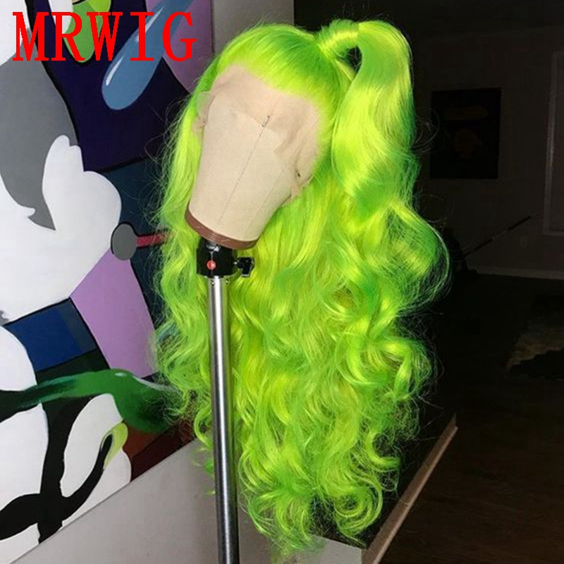 MRWIG Free Part SHINY GREEN Long Curly Heat Resistant Fiber 26in Synthetic Glueless Front Lace Wig Brown Lace Cap