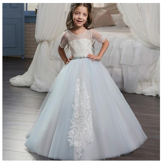 Girls Lace Formal Dress 2017 Sleeveless Flower Girls Dresses Kids Embroidered Party Gauze Ball Gown Children's Wedding Dress girls formal dresses 2018 strapless flower girls dress off shoulder kids party gauze birthday ball gown children s wedding dress