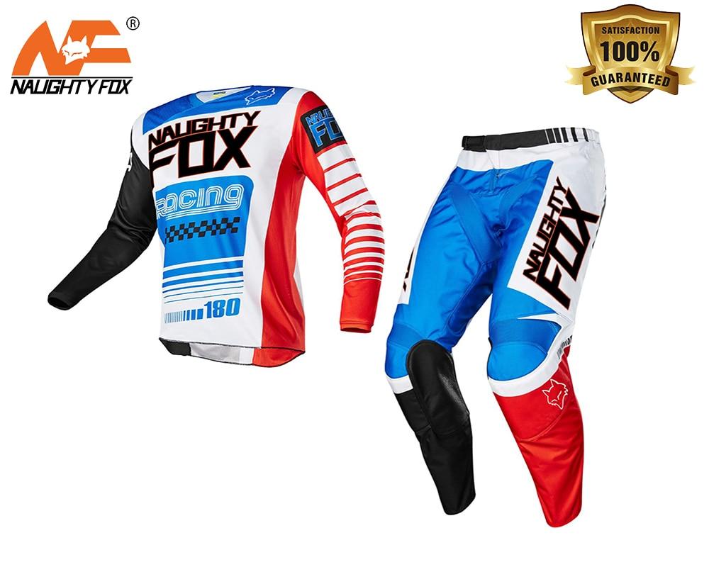 NAUGHTY Fox Racing 180 Race Falcon Nirv Jersey Pant Set MX MTB Motocross ATV Dirt Bike Shirt Suit Off-Road Mens Gear брюки asics брюки jersey pant