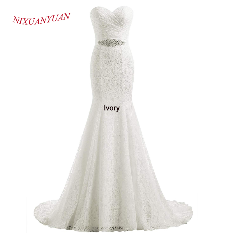 NIXUANYUAN 2019 Hot Vanzare Elegant Sweetheart Ivory White Lace - Rochii de mireasa - Fotografie 3