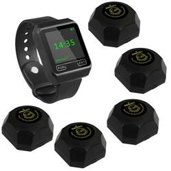 SINGCALL Wireless Restaurant Calling Waiter System 1 Watch,5 guest pagers for Hotel, Hospital Coffee Shop,wireless call bell