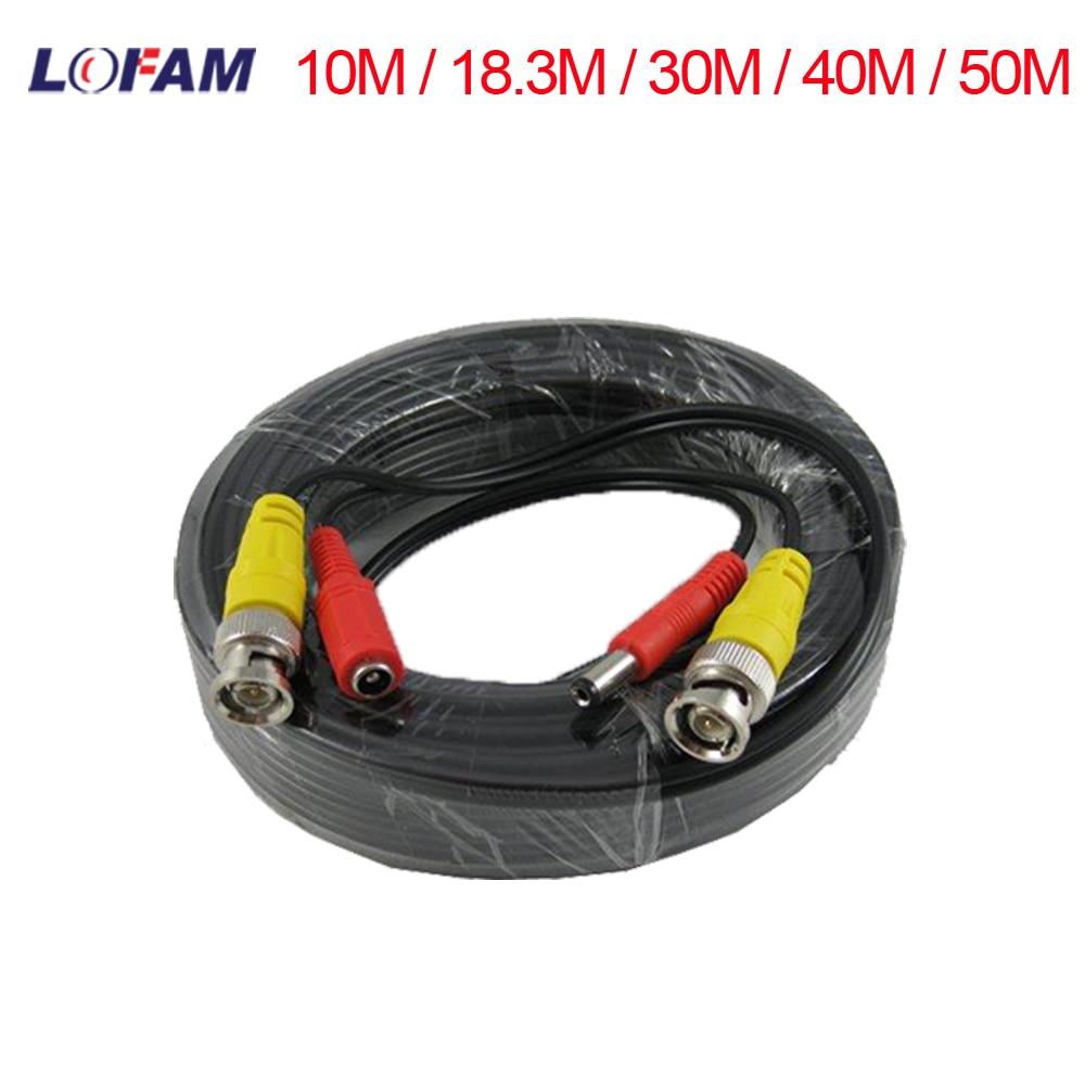 LOFAM 10M / 18.3M / 30M / 40M / 50M CCTV BNC Video Cable DC Power Copper Core Siamese Coaxial CCTV AHD Camera Cable Accessories(China)