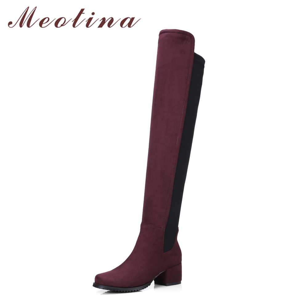 Meotina Women Over the Knee Boots Stretch Thigh High Boots Winter Block Heels Long Riding Boots Autumn Ladies Shoes Black 34-43 yougolun woman nubuck winter over the knee snow boots 2018 women thigh high boots ladies square heels thick plush warm shoes