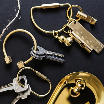 Creative Brass Keychain Portable Key Ring Bottle Opener Whistle Ruler Sealed Box Unique Organizer Tools  Keychain Accessories