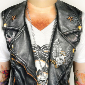 Image 5 - Halloween Party Funny Leather Vest Printed Biker T Shirts for Men Cool Rider Long Sleeve Tattoo Tee Halloween Costumes