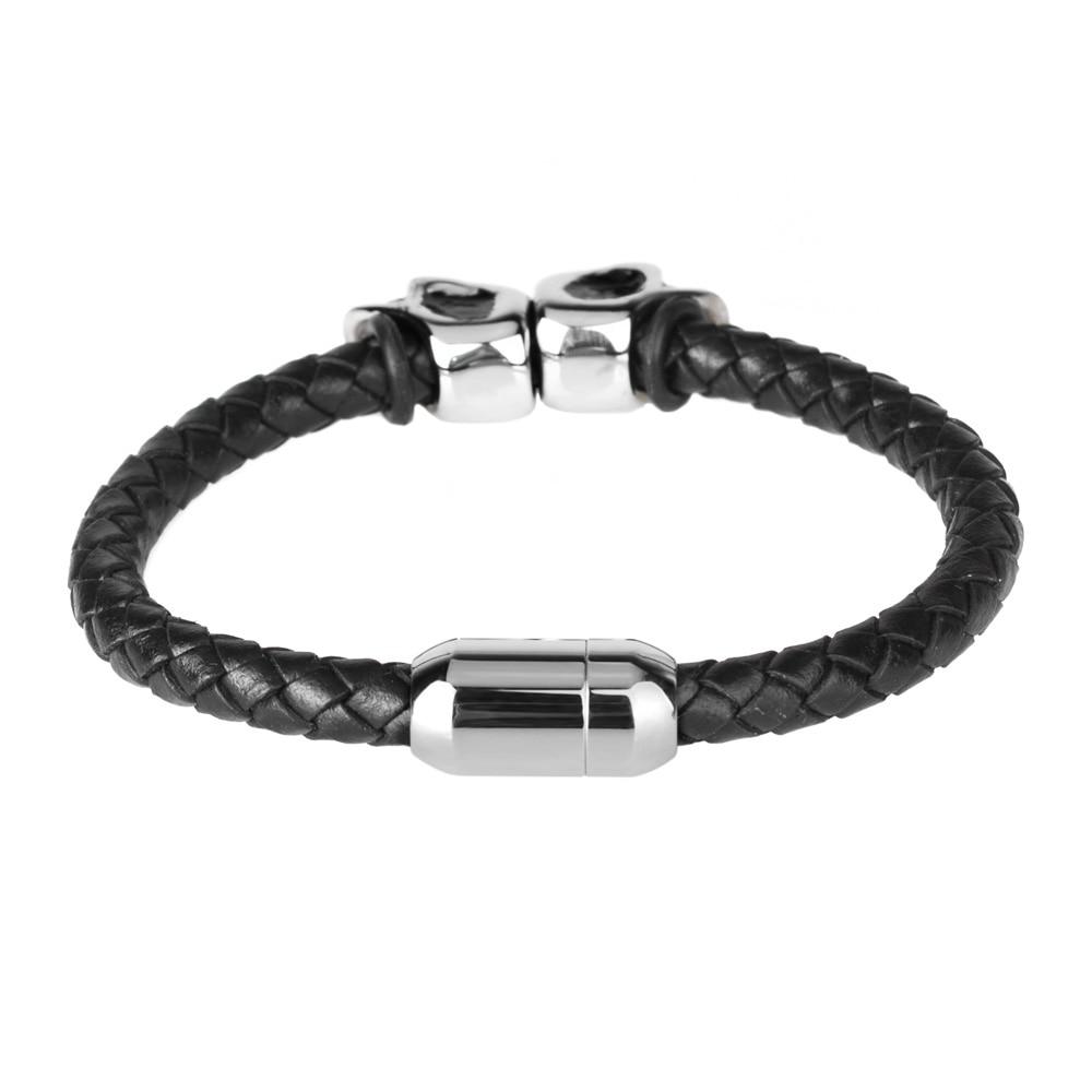 Kirykle mode Bracelet en cuir noir pour hommes bijoux Punk crâne en acier inoxydable perles Bracelet magnétique boucle breloque bijoux 3