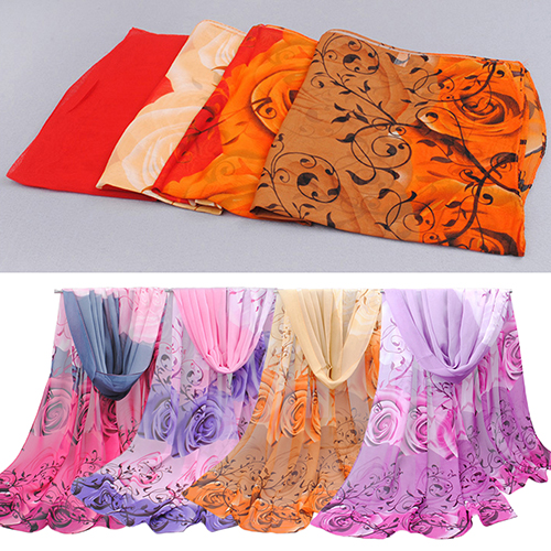 New Women's Fashion Rose Flower Printed Long Chiffon Shawl Turban Arabic   Scarf     Wrap