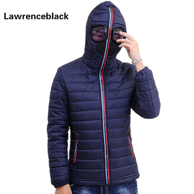 Lawrenceblack Winter Jackets Men Parkas with Glasses Padded Hooded ... : quilted hooded coat - Adamdwight.com