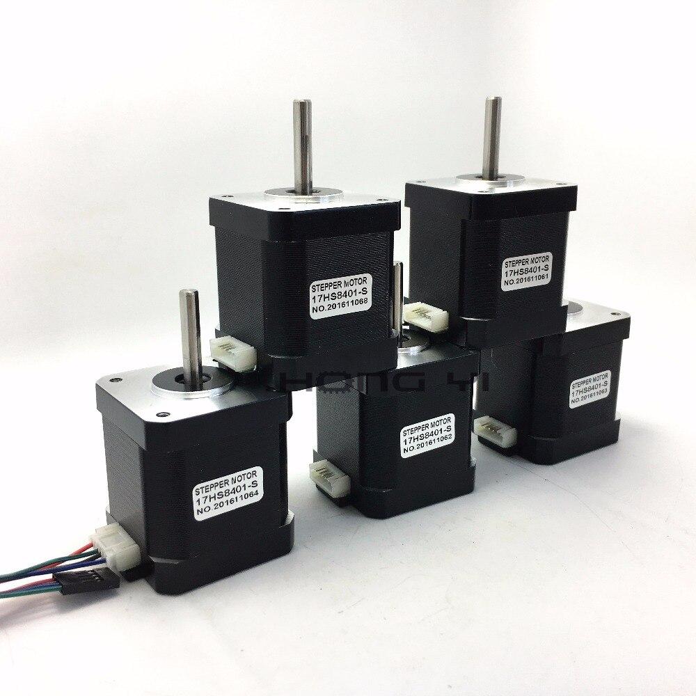 Бесплатная доставка 5 шт. 4-привести NEMA17 Шаговые двигатели 48 мм/78oz-in/1.8a Двигатель 1.7a 17hs8401-s Двигатель для 3D принтер с DuPont линии