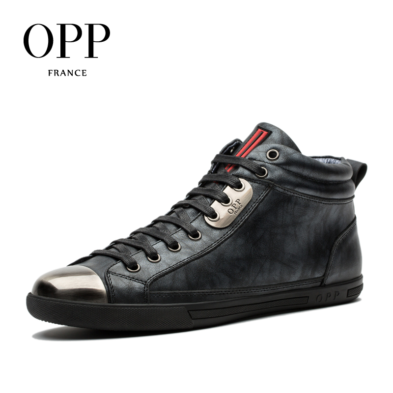 OPP 2017 Men Boots Genuine Leather High-top Casual Shoes Fashion Style Winter Boots Men Full Grain Leather Shoes Ankle Boots