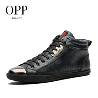 OPP Men S Leather High Top Casual Shoes Fashion Style Lace Up Round Toe Shoes Black
