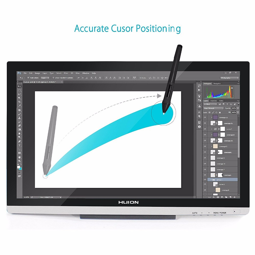 "Huion GT220 v2 Graphic Tablet Professional Drawing Monitor 21.5"" IPS HD Touch Screen Display FOR 3D Tooling Teaching Animation"