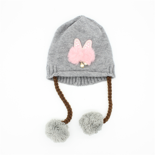 876831324 US $7.25 |Baby girl hat cap Kids winter Warm hat with plait Fur balls cute  cat ears set with pearl Knit Crochet cap infant hats for girls-in Hats & ...