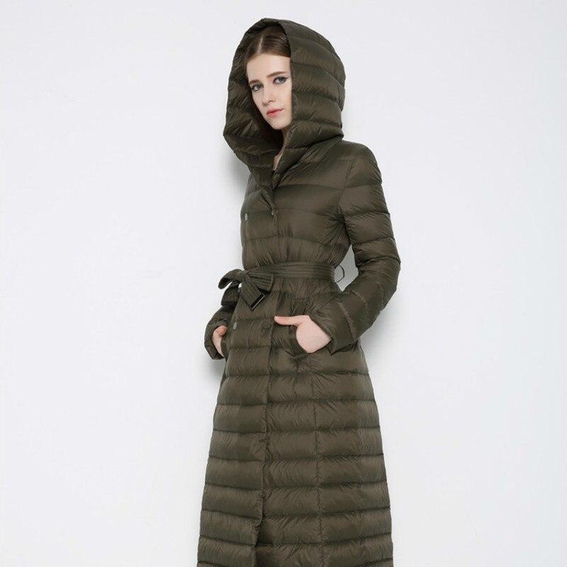 2018New Pattern Frivolous Both Row Buckle Belt Down Jackets Woman Even Hat Enlarge Code European Overknee Long Fund Winter Sale