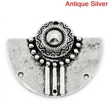 DoreenBeads Connectors Findings Semi-Circle Antique Silver Flower Pattern Carved 3 Holes 3.7x3cm,10PCs (B25760), yiwu