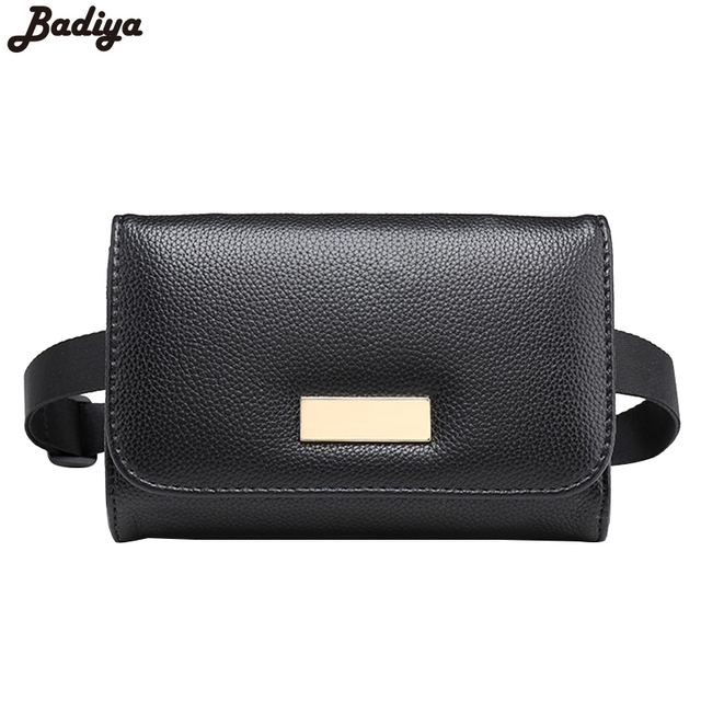 Fashion Brief Design Men Small Travel Bags Waist Packs Famous Brand Belt Pouch Black PU Leather Waist Bag