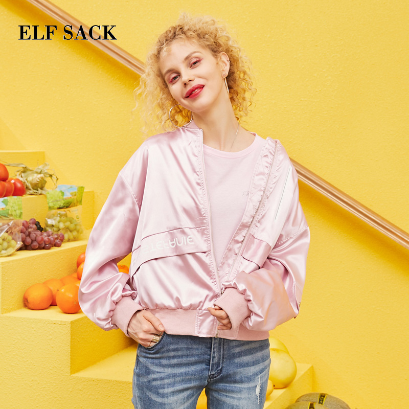 ELF SACK 2019 New Fashion Woman Jackets Full Letter Zipper Women Outerwear Coats Casual O Neck
