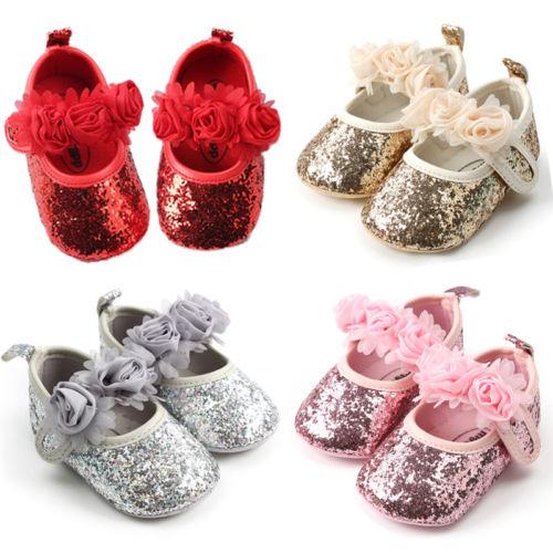Emmababy Sequin Newborn Infant Baby Girls Crib Shoes Pram Prewalker Anti-slip Sneakers