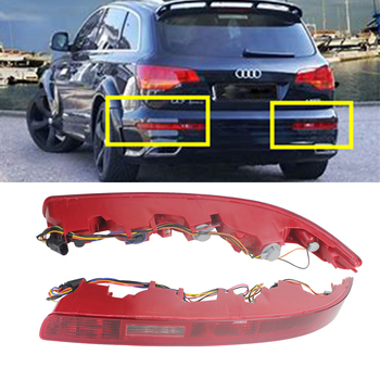 ANGRONG 2x L&R Rear Bumper Reflector Reverse Tail Stop Brake Light Lamps For Audi Q7 2006-2015