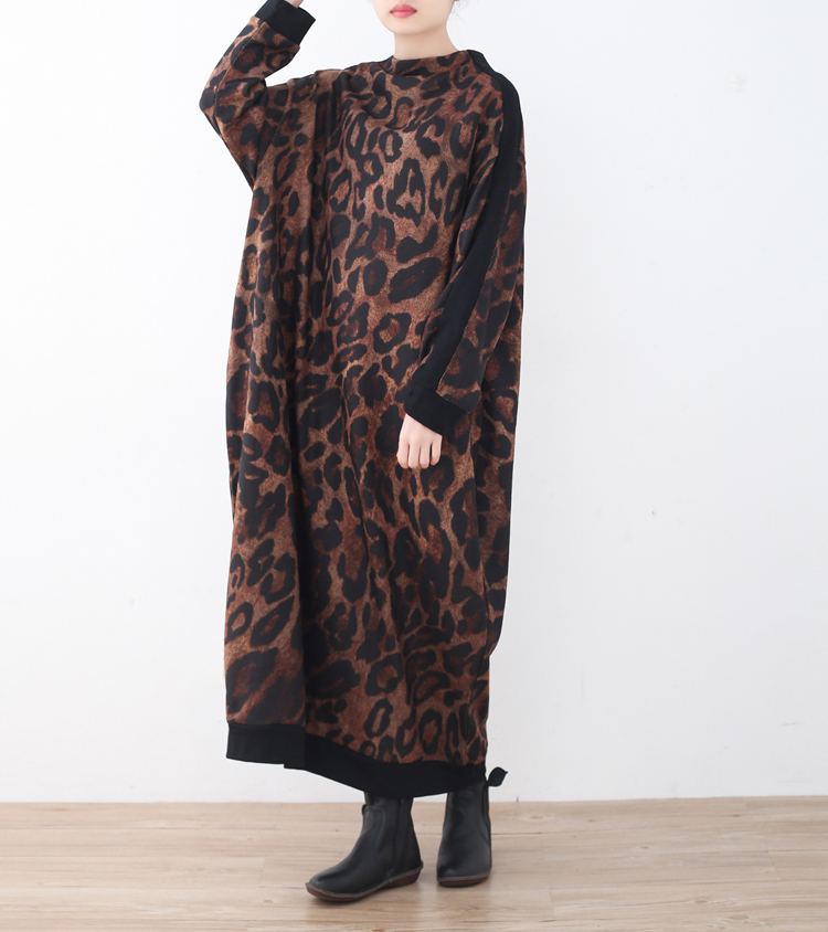 2018 Winter Vintage Leopard Print  Dress Female Turtleneck Batwing Sleeve Knitted Loose Big Size Women Warm Dresses Clothes hot sale feather pendant big butterfly print batwing loose coat poncho cape for women