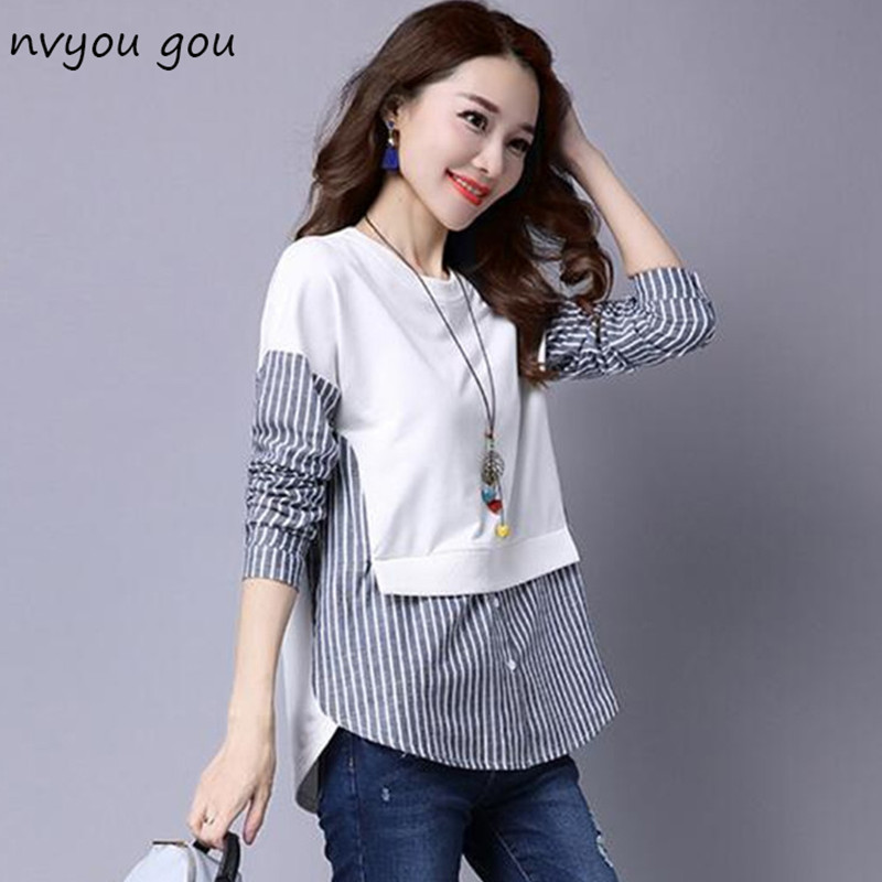 2018 fall Blouses Shirt Female Long Sleeve Casual Striped Patchwork Fake Two Pieces Women Blouses Loose Plus Size Lady Tops