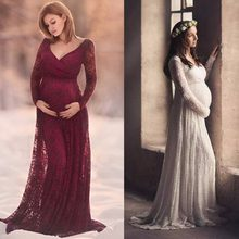 f311816ca71b5 Puseky M-2XL Lace Maternity Dress Photography Prop V-neck Long Sleeve  Wedding Party Gown Pregnant Women Elegant Wear Plus Size