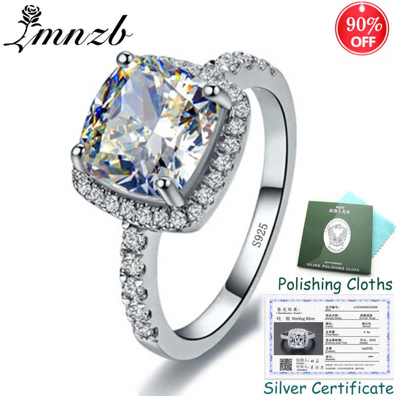 90% OFF! Silver Ring With Certificate! 925 Solid Silver Ring set Square Cubic Zircon Wedding Ring Fine Jewelry for Women ZSR1688