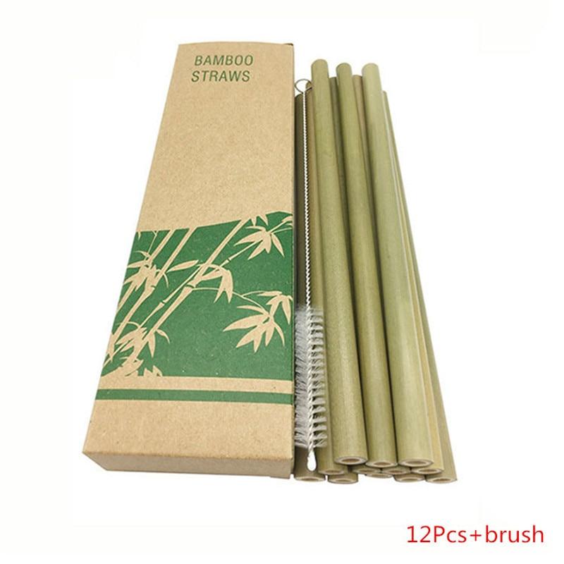 12Pcs/Set Bamboo Straw Reusable Eco-Friendly 20cm Organic Drinking Straws Natural Wood for Party Bar Tool