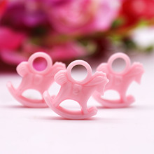 24pcs/pack Cute Baby Shower Gift Pink Girl Resin Rocking Horse Gifts Resin Accessories Birthday Party Favors Kids Party Decor