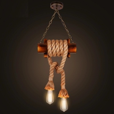 Retro Loft Style Rope Bamboo Droplight Edison LED Pendant Light Fixtures Dining Room Hanging Lamp Vintage Industrial Lighting nordic bamboo rope loft style vintage industrial lighting wood pendant light fixtures edison homeing lighting lamparas