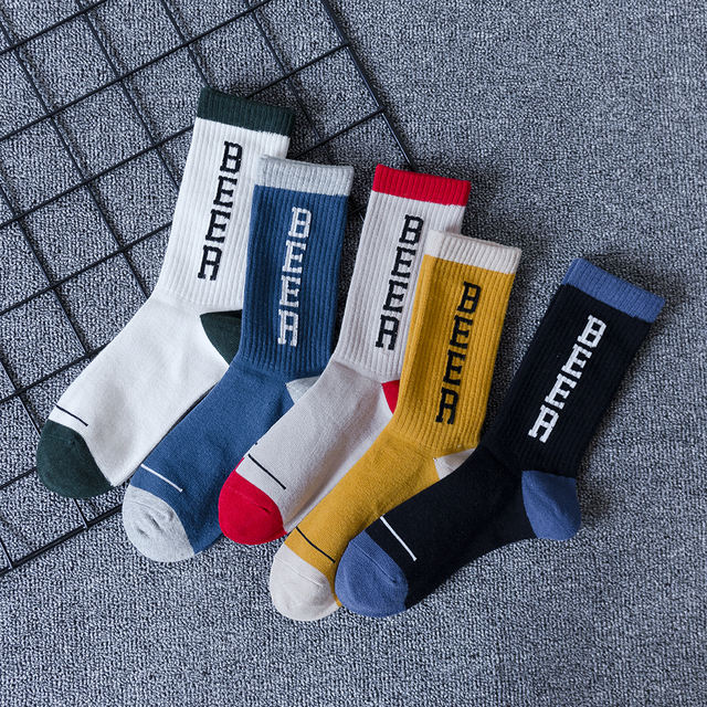 CHAOZHU 5 Pairs/Lot High Quality Mixed Colors Men's Socks Beer Comfortable Footwear Cool Autumn Winter Cotton Crew Socks Men