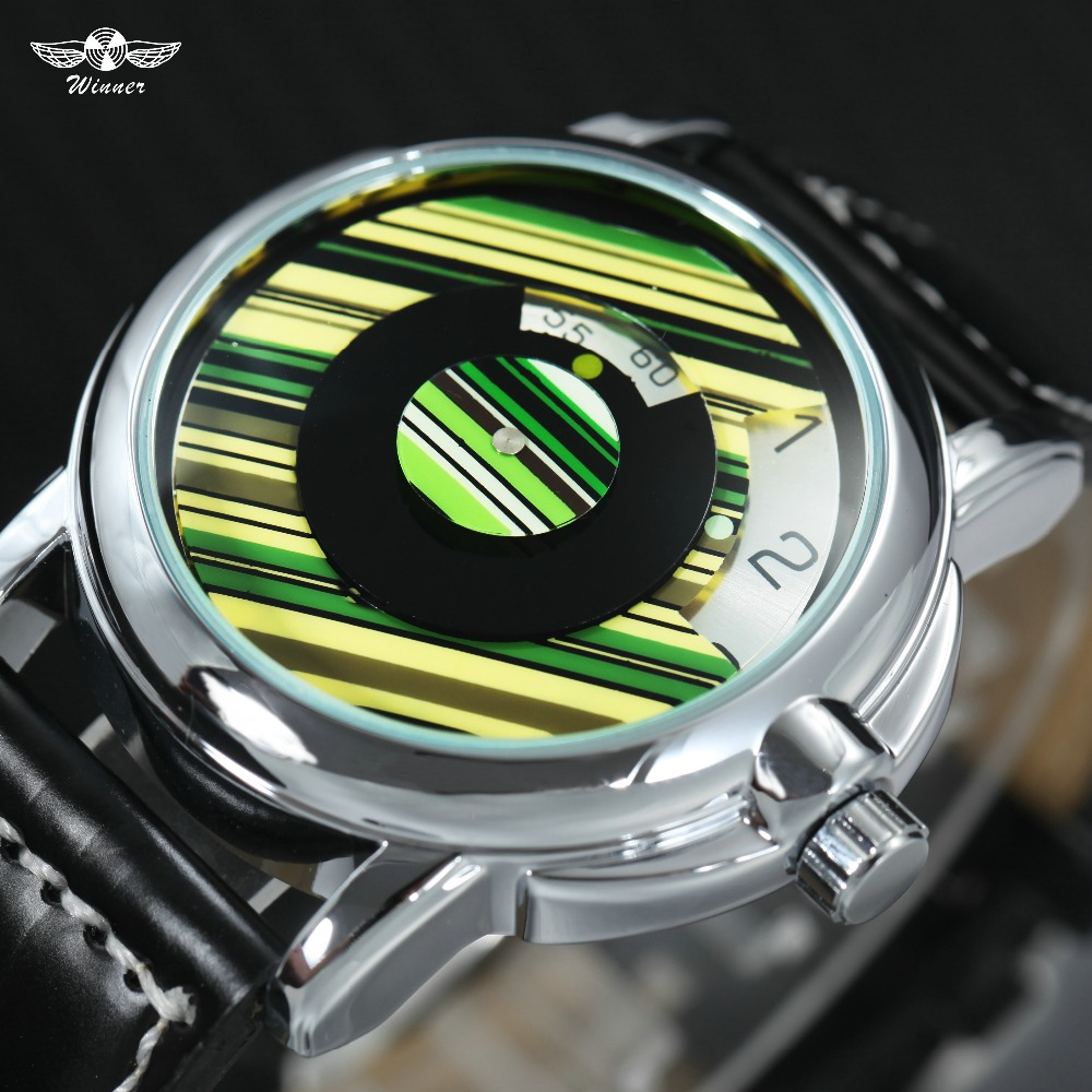 WINNER Top Brand Luxury Watches Men Auto Mechanical Leather Strap Rotational Dial Colorful Streak Fashion Creative Wrist Watch winner mens watches top brand luxury leather strap skeleton skull auto mechanical fashion steampunk wrist watch men gift box