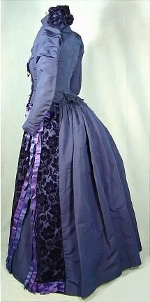 Royal Blue Silk Faille Reception Gown Trimmed in Cut Velvet and Original Blue and Lavender RibbonsVictorian dress satin dress