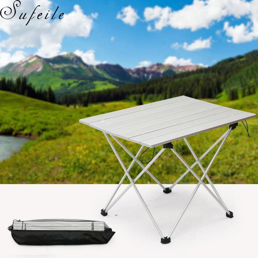 SUFEILE extérieur Camping Portable Table pliante aluminium Ultra léger Portable ordinateur bureau Barbecue pendule loisirs Table D50
