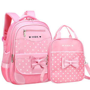 Image 2 - DIOMO 6 12 Year Old childs School Bag Set for Girl Fashion Dot Cute Bow School Backpack Starting School The Best Gift for Girl