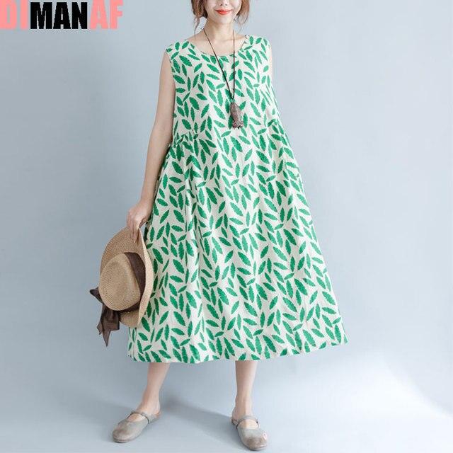 dfb9e405e2 DIMANAF Summer Style Dress Plus Size Women Linen Leaves Print Sleeveless  Vest Female Sundress Long Sweet