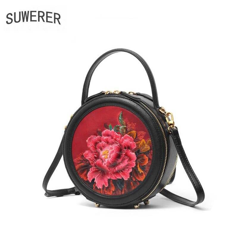 SUWERER 2019 Novas Mulheres Genuína bolsas De Couro bolsas de luxo mulheres saco do desenhador saco Rodada saco de ombro das mulheres de couro de vaca Em Relevo - 2
