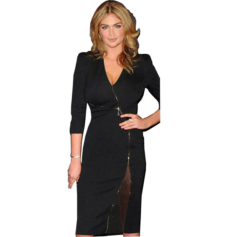 2015 New Brand Business Dresses Black Woman Summer V Neck Zipper Uk Fashion Evening Party Dress