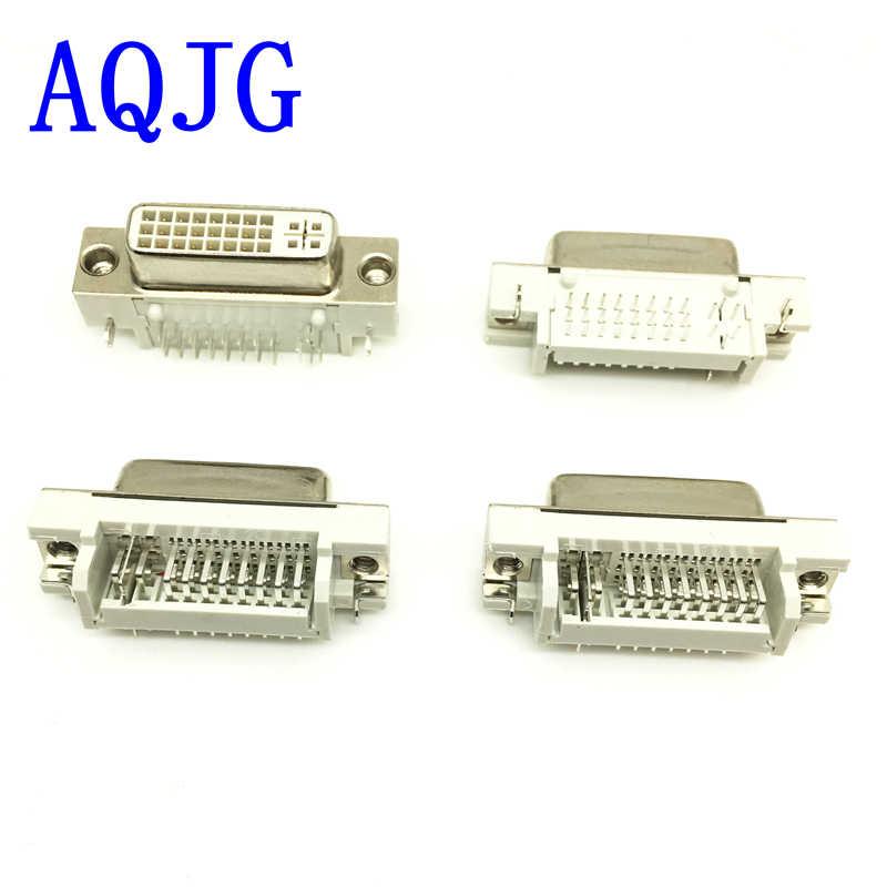 10 pcs DVI dvi 29Pin ke PCB 90 Derajat Connector Perempuan Steker 24 + 5 Pin Perempuan socket Plug jack untuk Video Audio tampilan AQJG