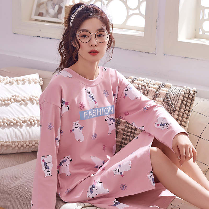 Autumn New 100% Cotton Women's   Nightgowns   Lounge Nightdress Ladies Sleepwear Casual Nightwear Loose   Nightgown   Fashion   Sleepshirt