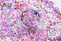 MAHR-286  Mix Laser Holographic Color Hexagon and Round Dot Shape  Glitter Sequins for nail art  DIY  and Holiday decoration