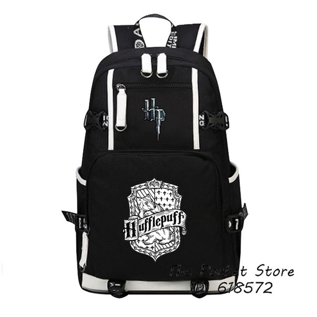 High Quality Harry Potter Gryffindor/Hufflepuff/Ravenklauw/Slytherin Hogwarts School Women Printing Backpack Canvas School Bags 2