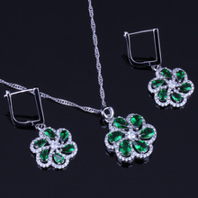 Charming Green Cubic Zirconia White CZ 925 Sterling Silver Jewelry Sets For Women Earrings Pendant Chain V0017