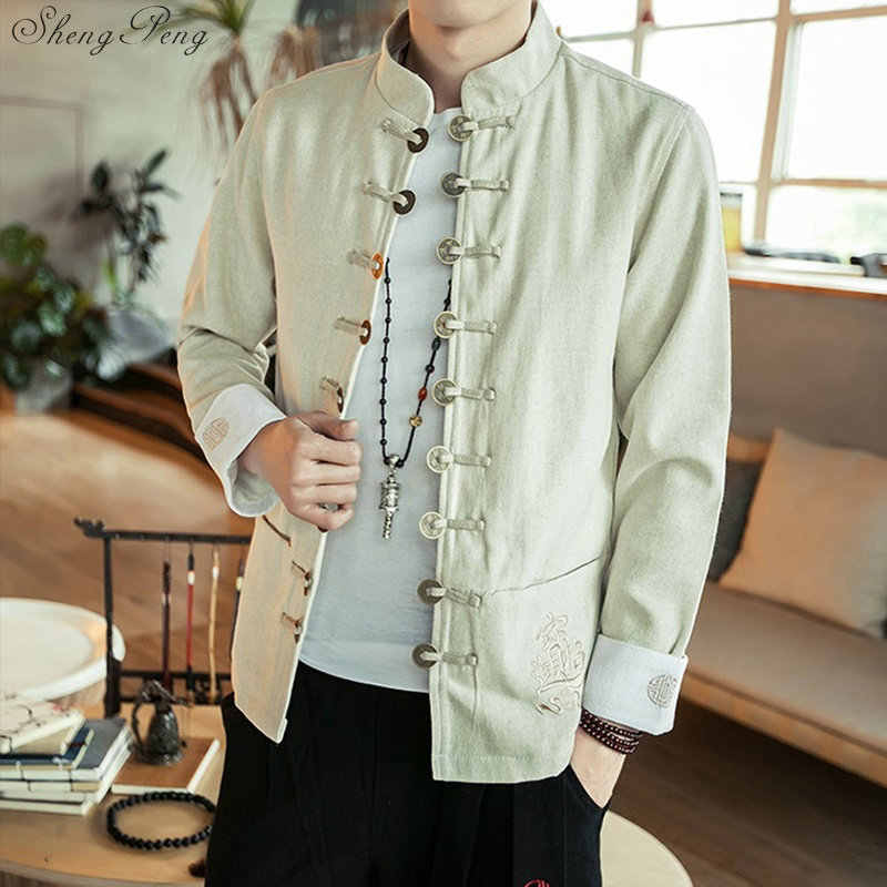 Традиционная китайская одежда для мужчин Шанхай Тан платье в китайском стиле китайская куртка Кунг-фу одежда мужская одежда Q085