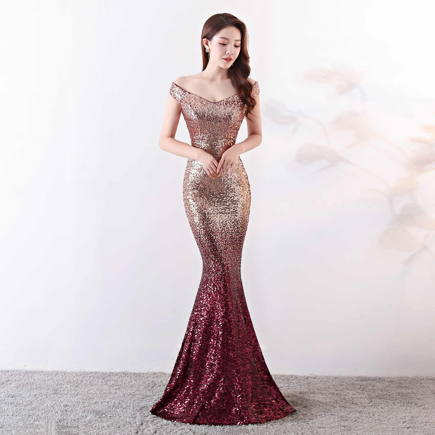 Gold And Red Gradient Sequins Off The Shoulder Short Sleeve Elegant Sexy  Nightclub Wear Luxury Formal 7a6c8348f347