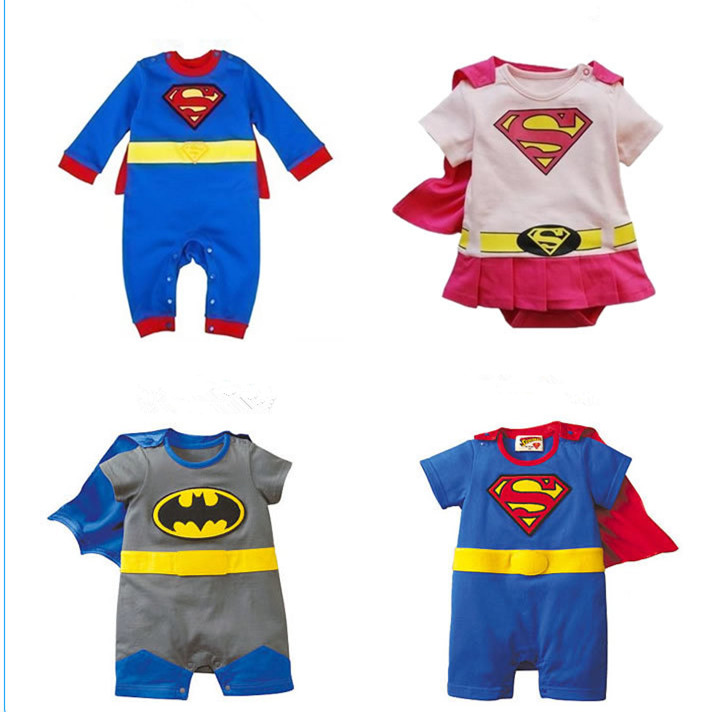 HOT SUPERMAN BABY ROMPERS 100% Cotton Soft Infant batman baby clothing Long sleeve Newborn infant toddler custume with Cloak