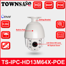 TOWNSAFE TS-IPC-HD13M64X-POE HD 960P 1.3MP Mini Speed PTZ Dome IP Camera POE Outdoor IP66 2.8-12mm 4X Optical Zoom P2P