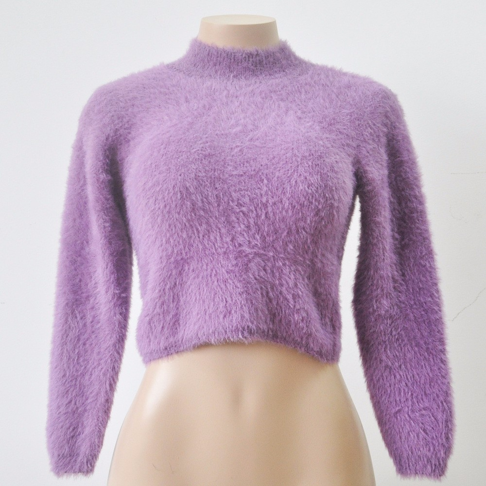 18 New Autumn and Winter Women Wool Cropped Jumpers Fluffy Mohair Sweater Mujer Pullover Sweaters Crop Top Black Pink 9