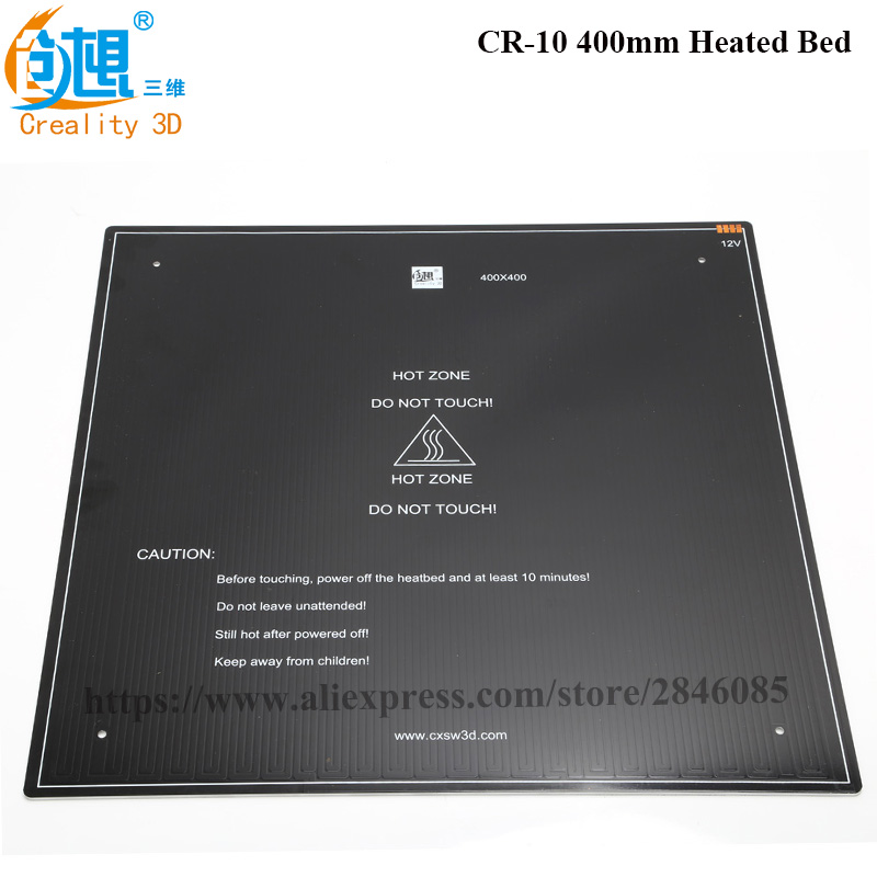 Official Supply 3D Printer Parts black MK3 hotbed Aluminum heated bed for CR-10 Hot-bed 12V 310*310*3mm/410*410*3mm option cr10 310 310 410 410 510 510 3mm heatbed upgraded mk3 12v heated bed aluminum for cr 10 cr 10s cr 10 s5 3d printer hotbed parts